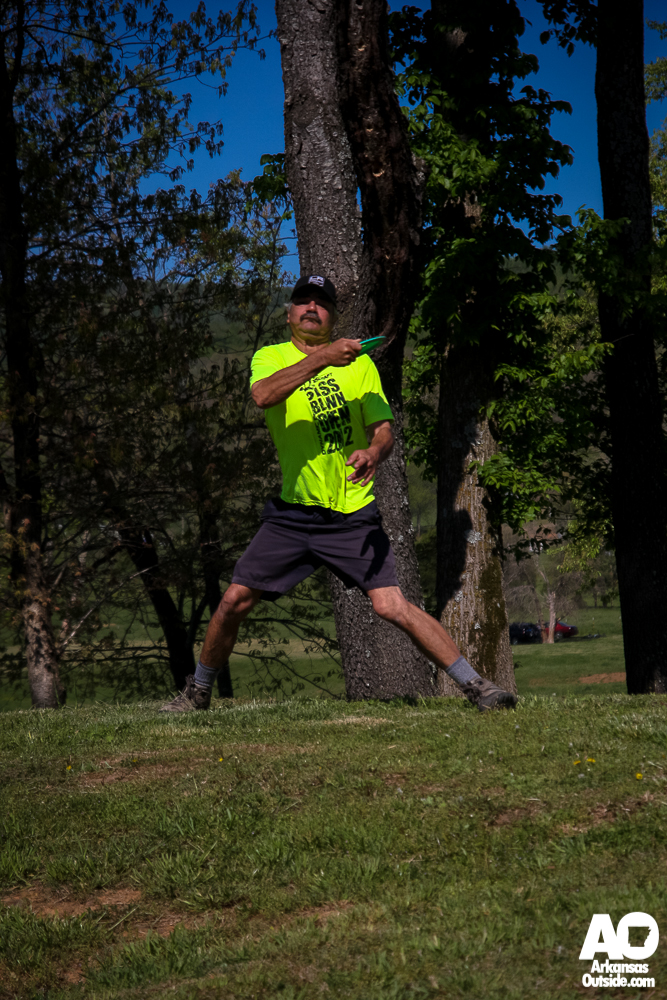 About to let one fly on the the disc golf course. (photo by Cliff Li)