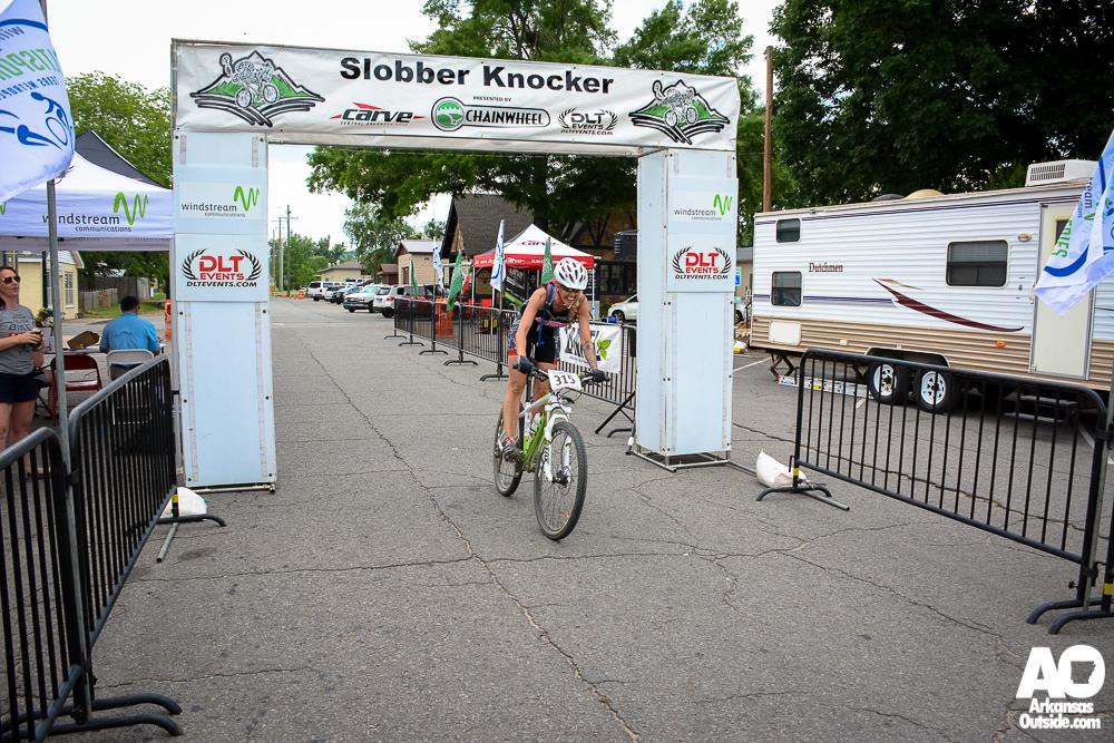 Victoria Crumpton of Arkansas Heels on Wheels finishes the tour.