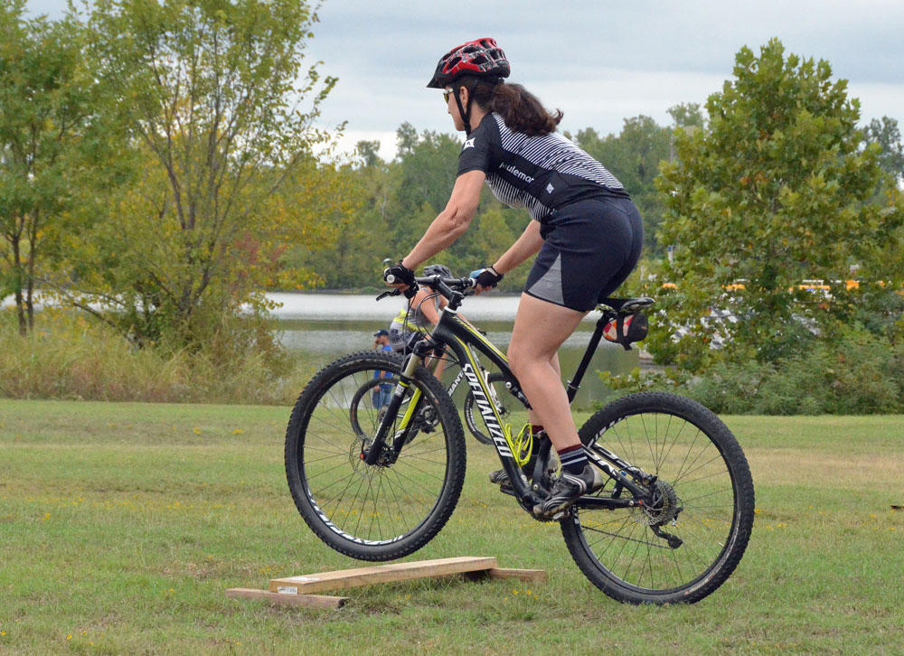 Demonstrating how it's done at a women's mountain bike clinic at Springhill last year.