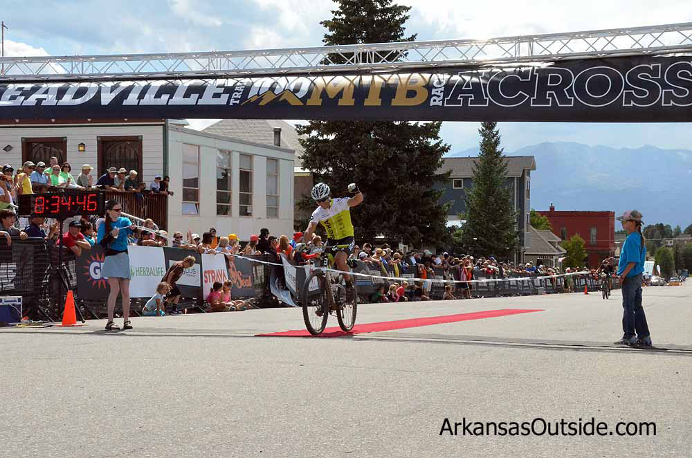 Finishing the Leadville 100 MTB in 2012.