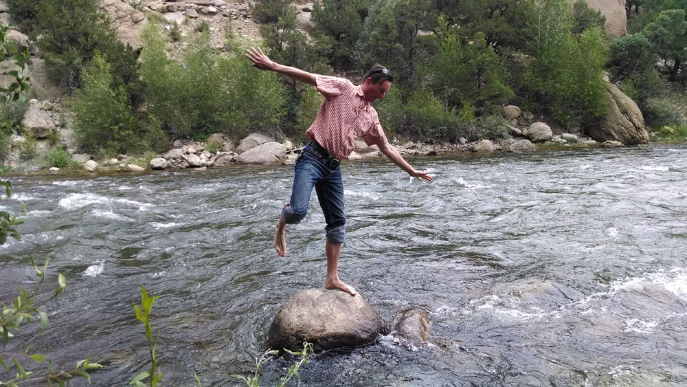 Working on balance in the Arkansas River headwaters near Salida, Colorado…this particular practice session did not turn out so well. The sunglasses pictured on my head here should be back in Arkansas by now.