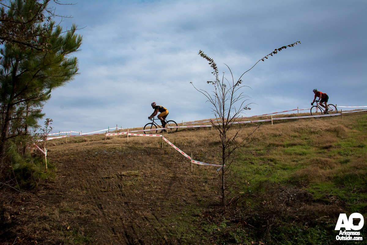 Riders making their way through the turns into one of the few downhill sections.
