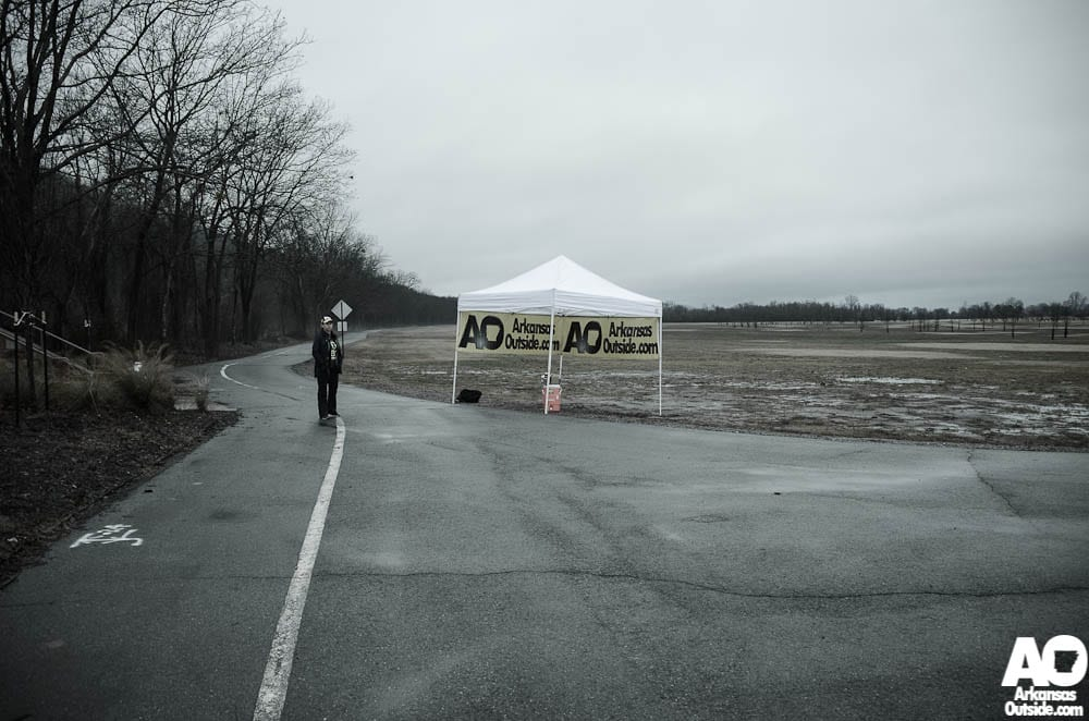 Setting up for the party aid station at mile 22.5.