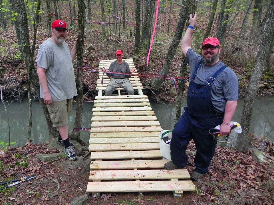 Bridge building at Camp Robinson