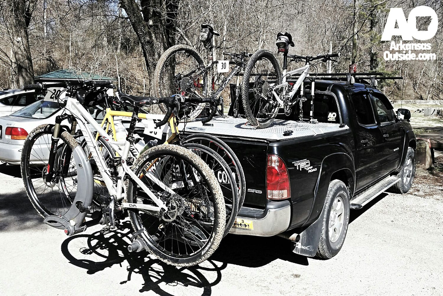 The mobile office, covered in bikes.