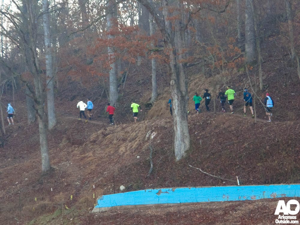 Runners heading out on the first section of single track.