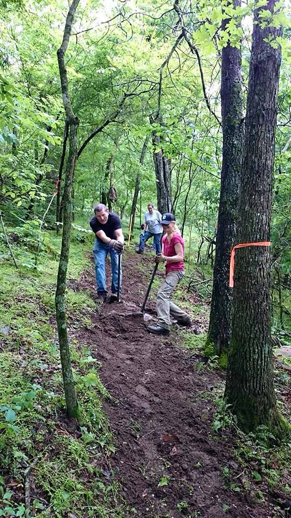 OORC members working some new trail in Northwest Arkansas.