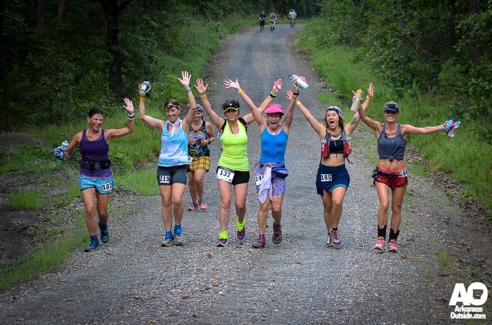 A happy group of women, early into the 50K