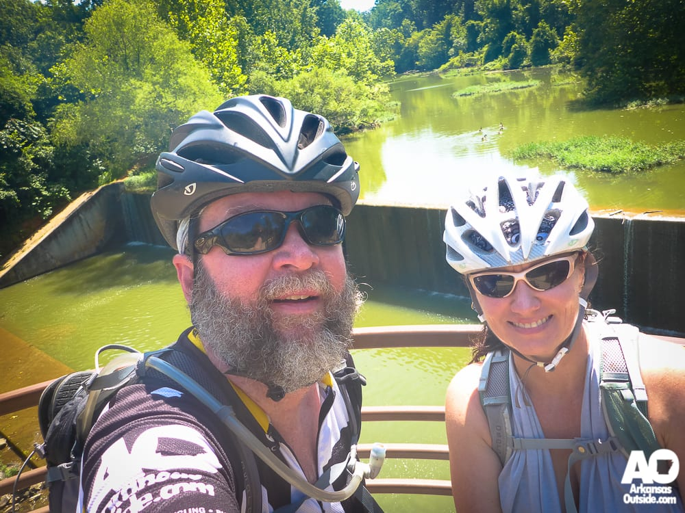 Taking a pause at the Lake Fayetteville spillway. Lots of sunlight, lots of algae, lots of green.