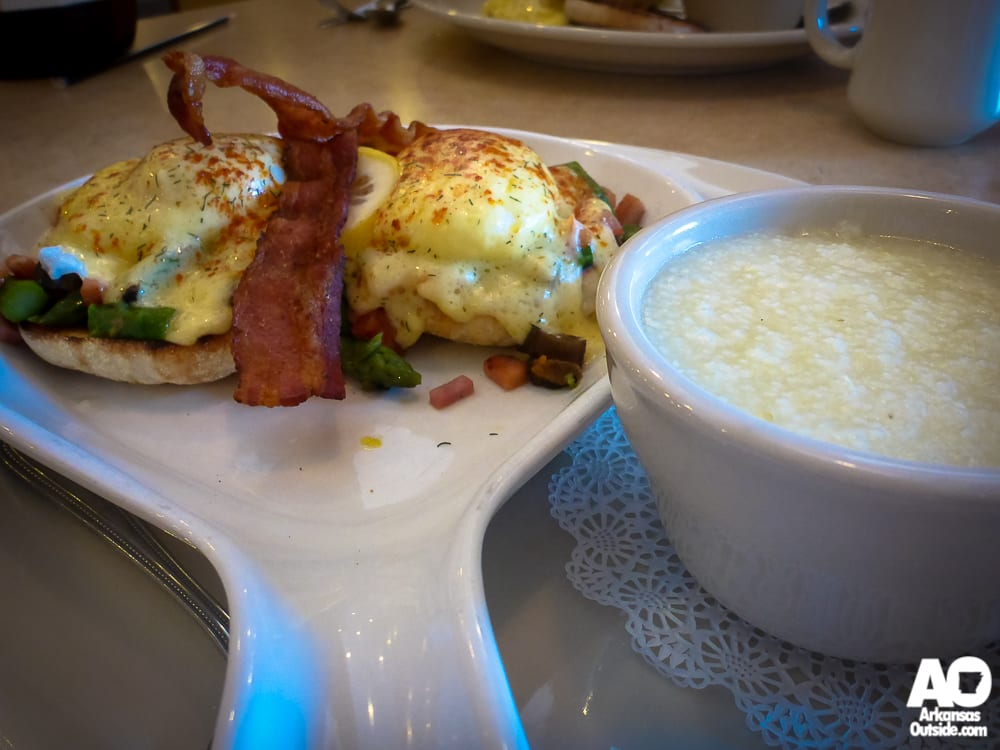 Eggs Benedict and Grits.