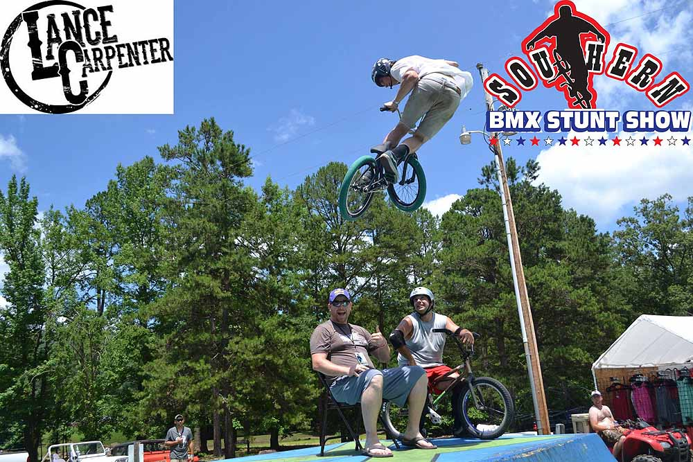 BMX biker, Murray Polka whipping over Lance Carpenter