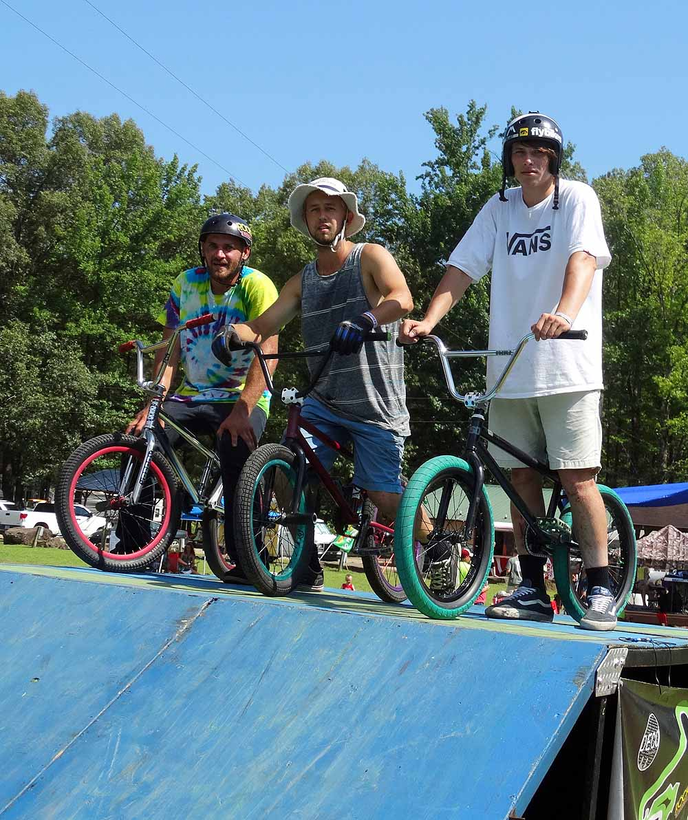 Southern BMX Stunt Show bikers: Justin Jester, Mike Green, Murray Polka & not pictured Cody Juarez