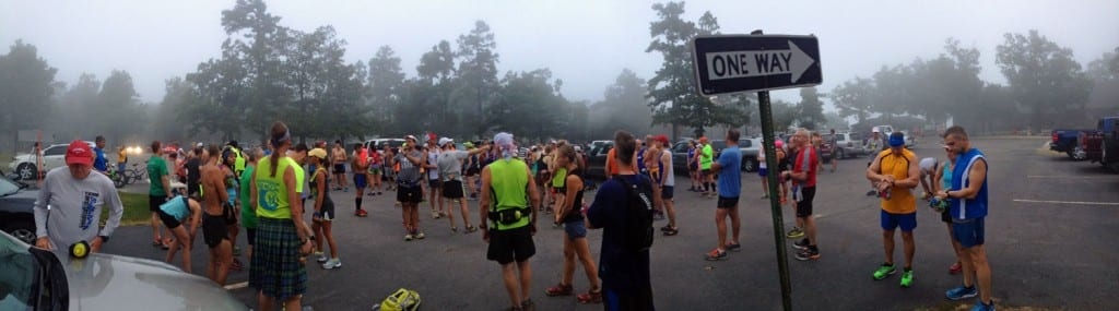 Racers gathering at the start. The one way sign is particularly ominous. We had but one way to go - down the mountain and back up.