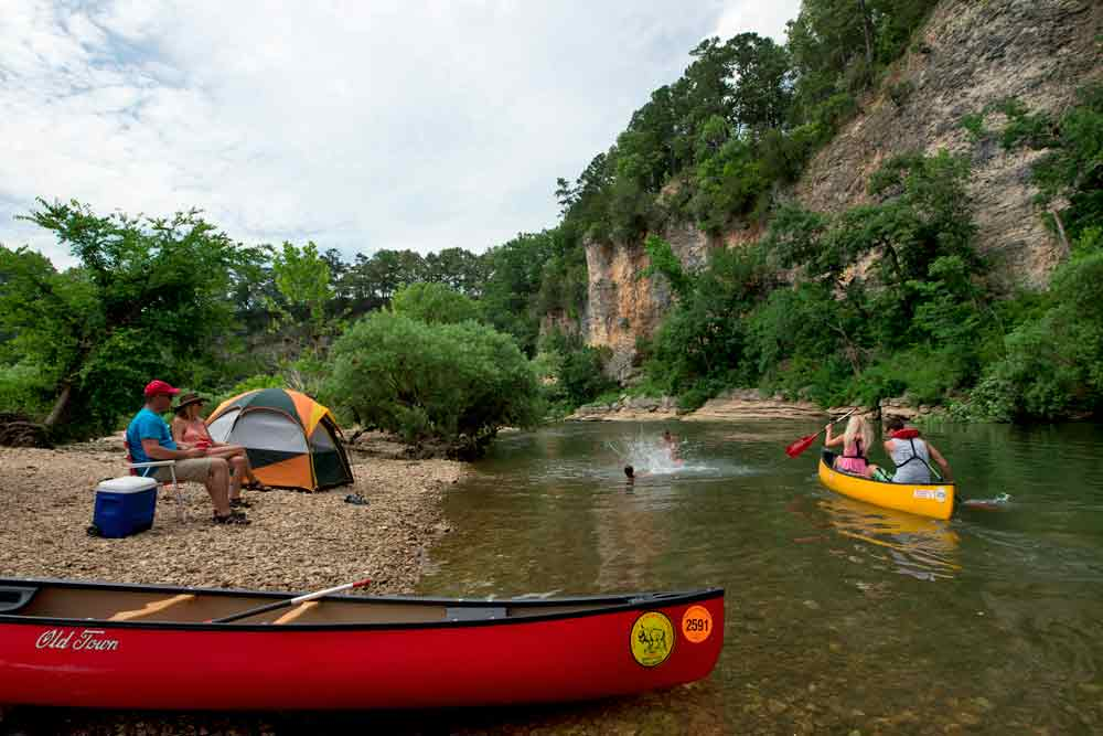 Camping along the Buffalo River is an Arkansas tradition.