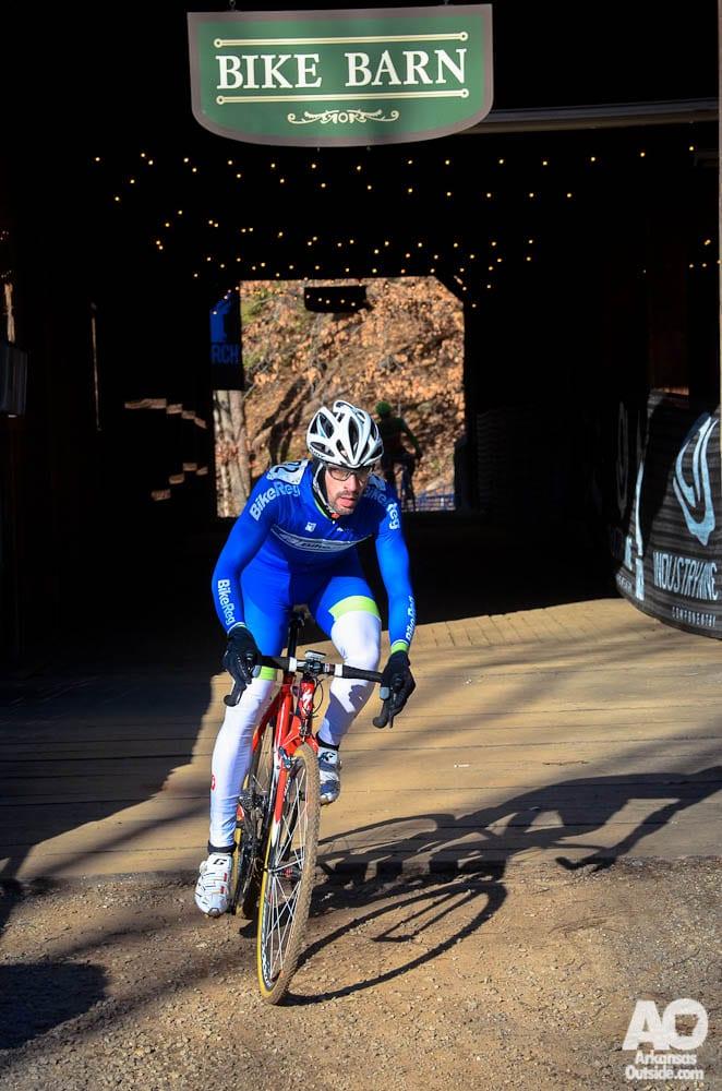 Exiting the Bike Barn.