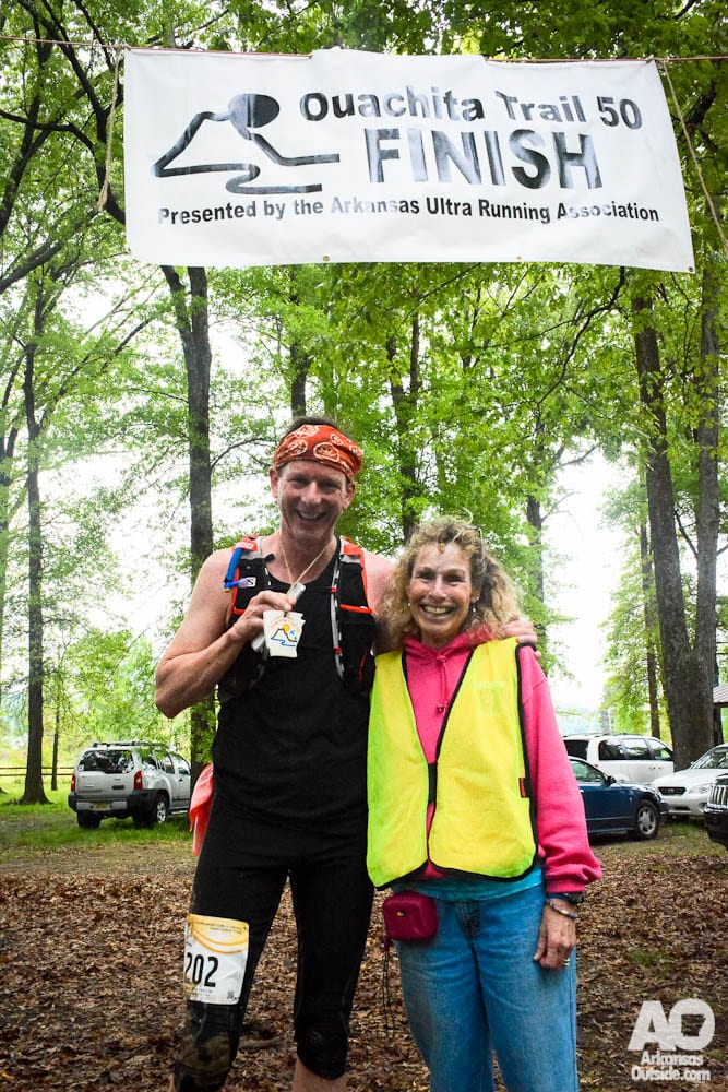 My friend James with Race Director Chrissy Ferguson at the finish line.