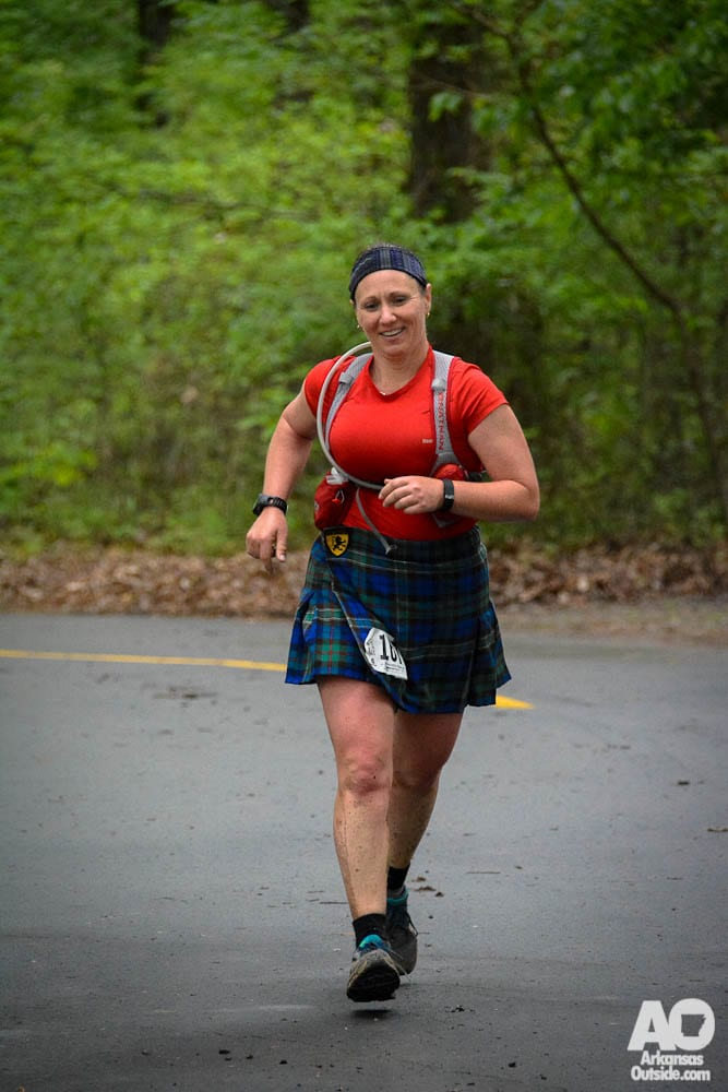 The author finishing her 50K with a personal record.