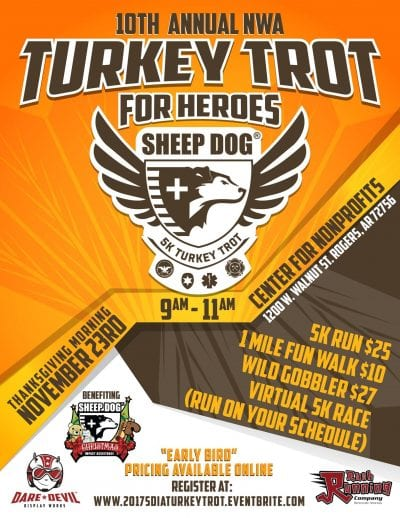 Sheep Dog Turkey Trot 5K Event @ Center for Nonprofits at St Marys | Rogers | Arkansas | United States