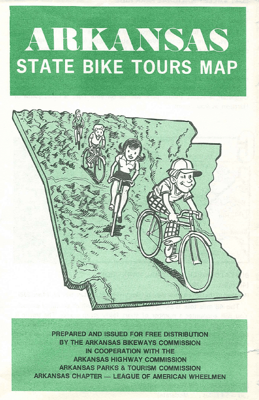 The original cover of the 1978 Arkansas State Bike Tours Map. In the 70's it was all the rage to not wear helmets or special cycling garments.