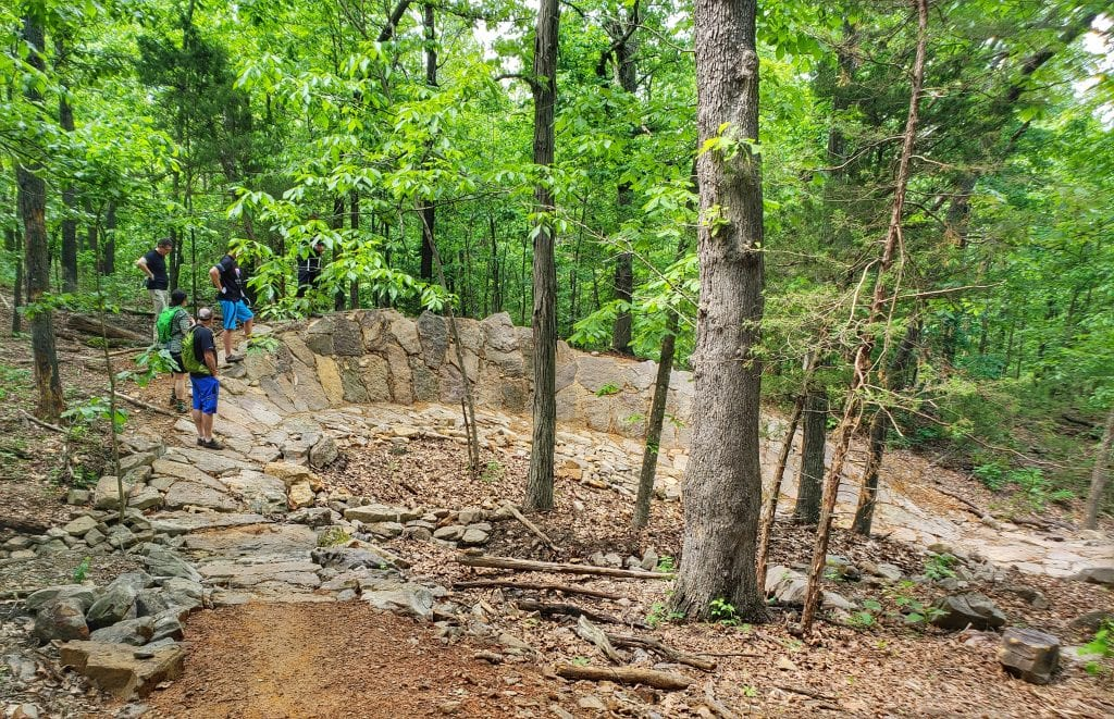 A rock berm on a downhill section.