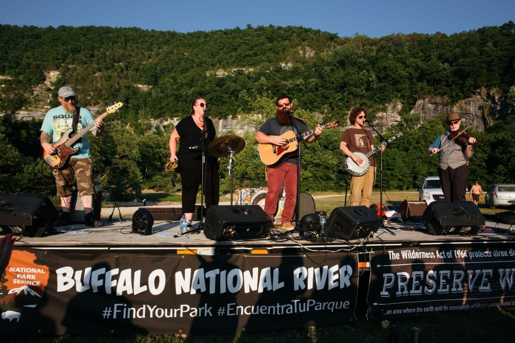National Park Radio plays for a crowd of 1,300 at Steel Creek, Buffalo National River. Photo: Terra Fondriest