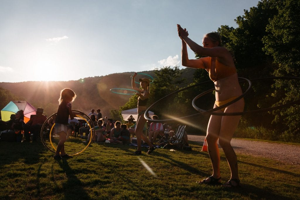 Hula hoopers finding their flow to the sounds of National Park Radio. Photo: Terra Fondriest