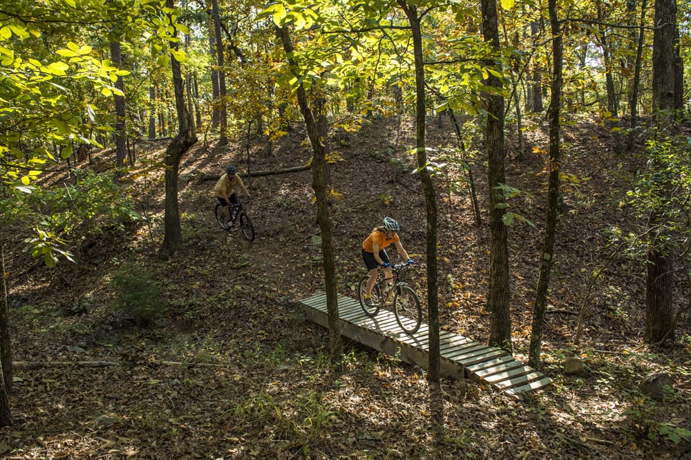 Mountain biking on the nearby Jackfork Trail in Pinnacle Mountain State Park.