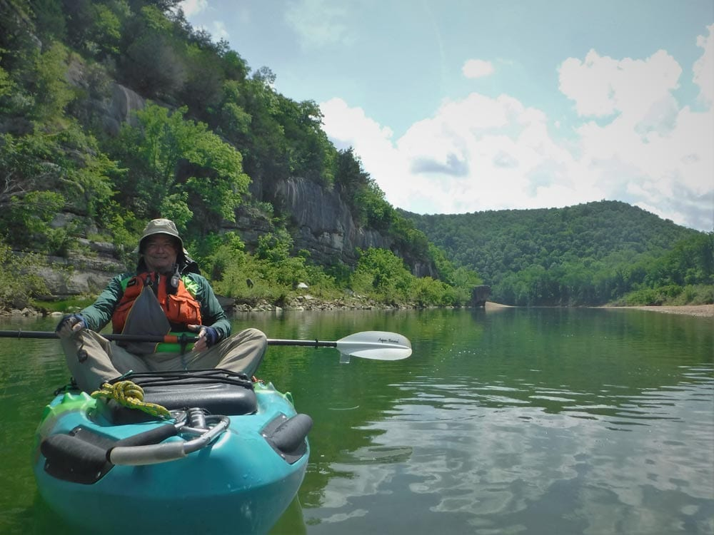 Ozark Campground Host Jerry Goller enjoying another day at the office. NPS Photo