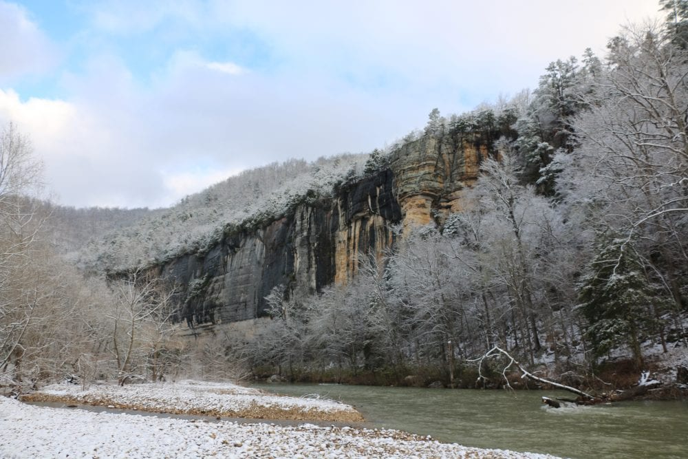 A snow-laden bank of the Buffalo River beneath Roark Bluff. Photo: National Park Service