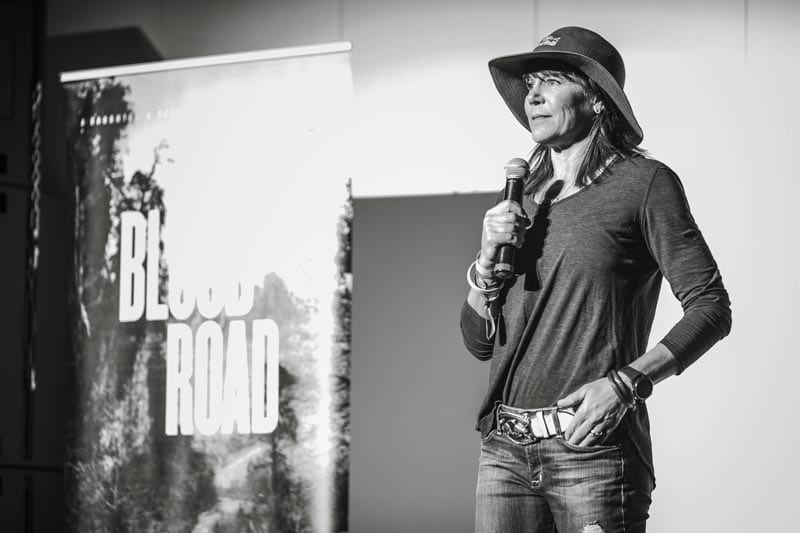 Rebecca Rusch at the Blood Road Screening at O.C. Tanner Amphitheater in Virgin, UT, USA on 26 October, 2017.