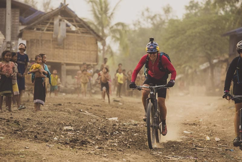 Rebecca Rusch rides along the Ho Chi Minh Trail for the feature film project 'Blood Road' in Vietnam, Laos, and Cambodia in March, 2015.