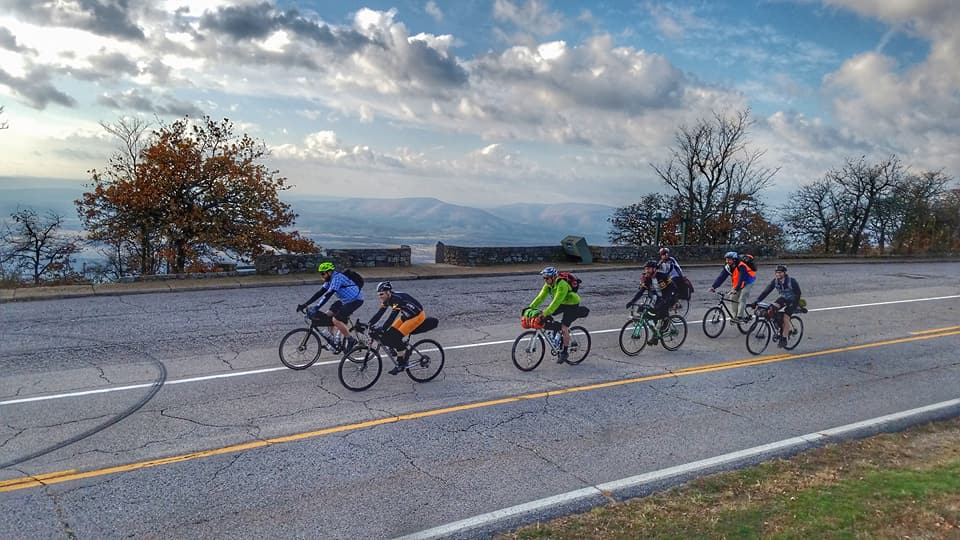 Riders on the Arkansas High Country Route on Mount Magazine.