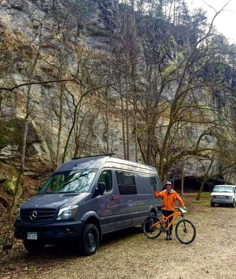 "James showing off his van, ""Large Marge"" while at a mountain bike event at Blanchard Springs."