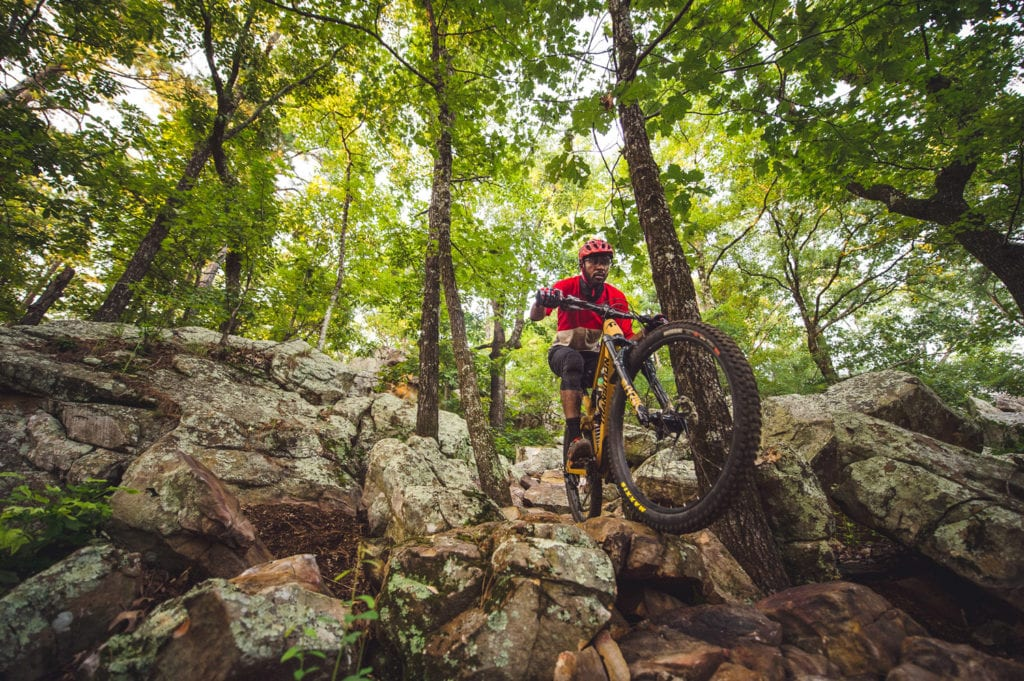 Mountain biker enjoying some of the more difficult trails at Pinnacle Mountain State Park.