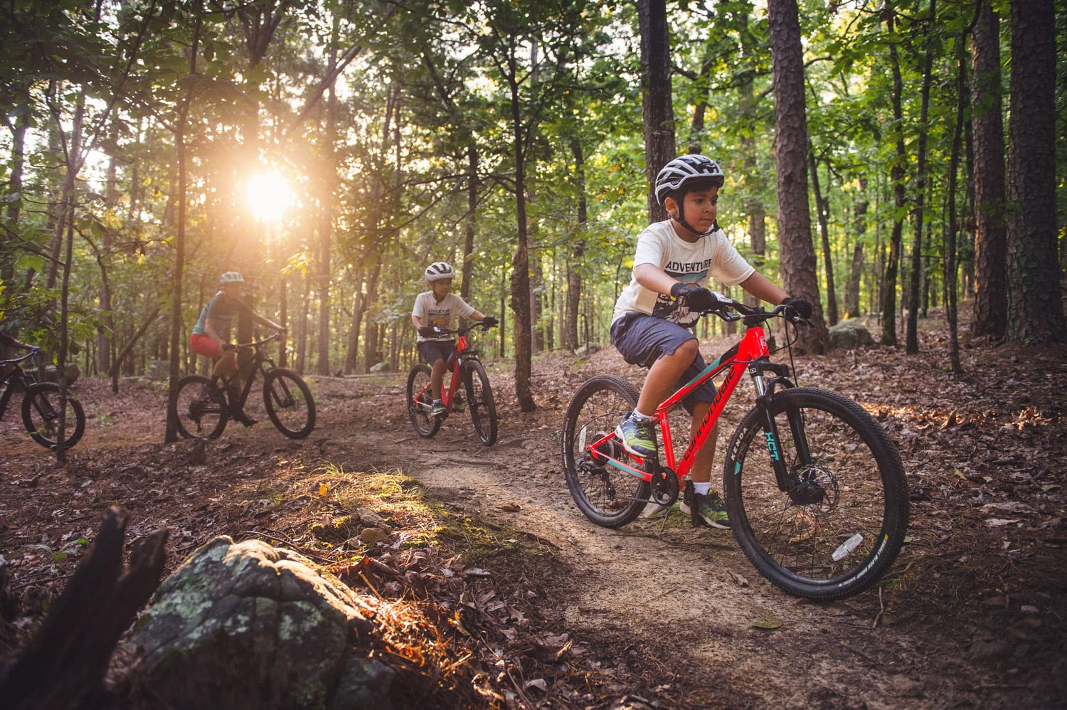 Young family mountain biking at Pinnacle Mountain State Park