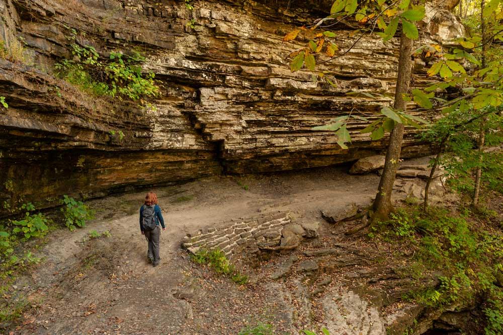 Lone hiker at Devil's Den State Park