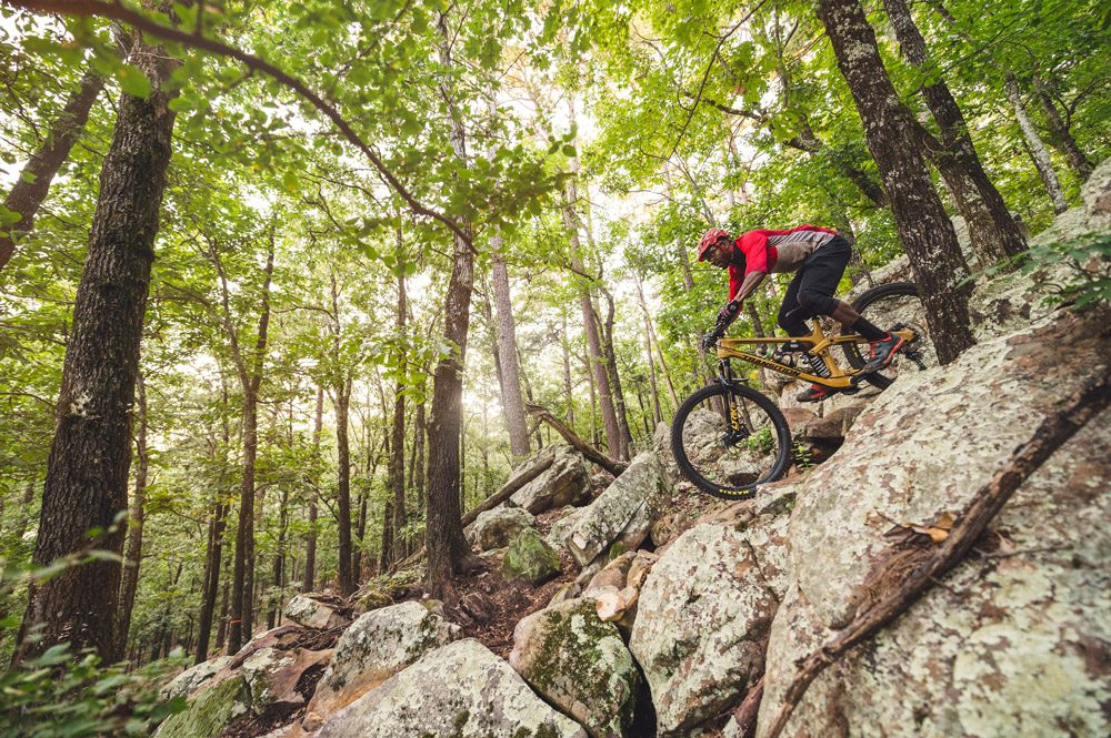 Riding the rugged Pinnacle Mountain State Park.